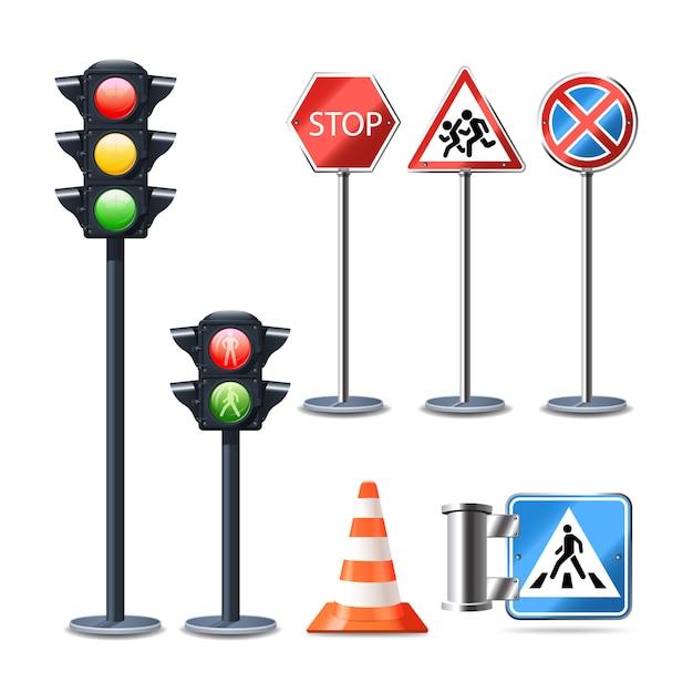 Установить дорожный знак и огни реалистичные 3d декоративные иконки Бесплатные векторы