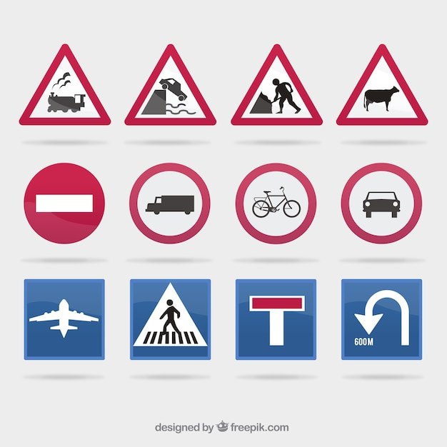 Traffic sign collection Vector   Free Download