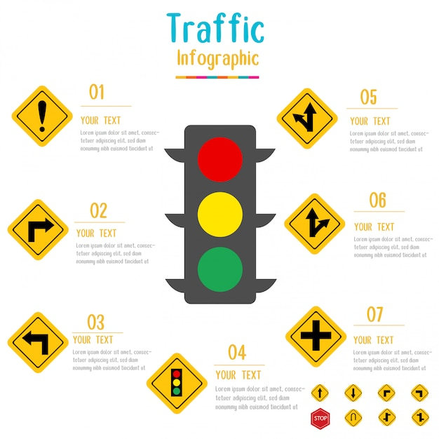 Traffic sign infographic.traffic light with data elements.vector illustration. Premium Vector