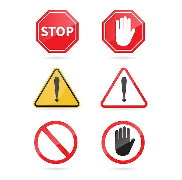 Дорожный знак стоп установлен. предупреждающий знак. Premium векторы