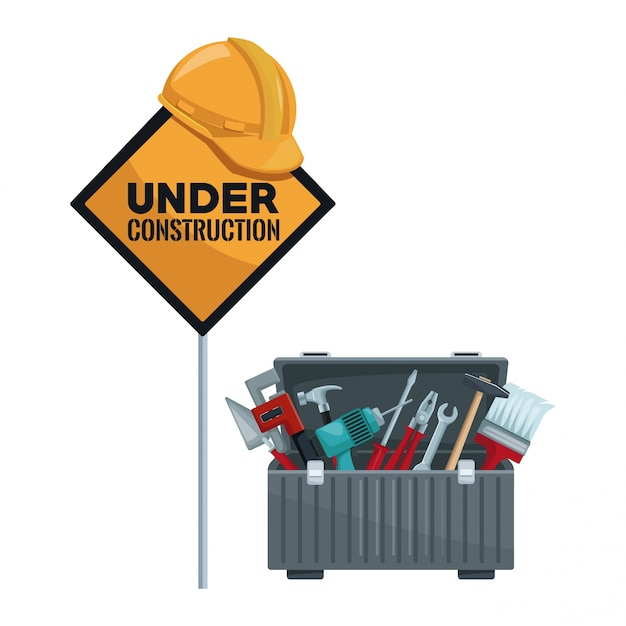 Traffic signal in pole with helmet and toolbox Premium Vector