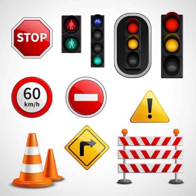 Коллекция пиктограмм дорожных знаков и огней Бесплатные векторы