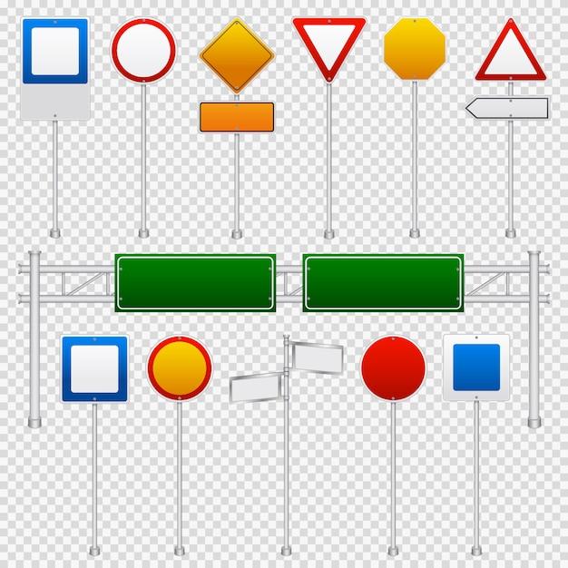 Traffic signs color transparent set Free Vector