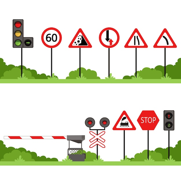 Traffic signs set, various road sign vector illustrations Premium Vector