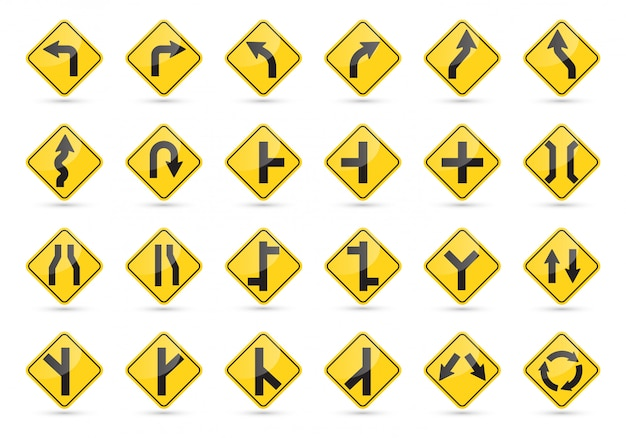 Traffic signs set. yellow road signs. Premium Vector