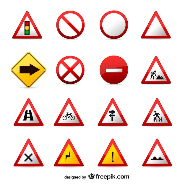 Traffic signs set Free Vector