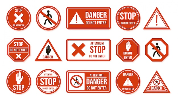 Traffic stop signs. do not enter, warning traffic road sign. stop, no admittance, prohibitory character street driving directions   icons. transportation forbidden, enforcement symbols Premium Vector
