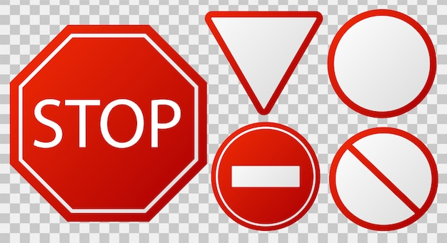 Traffic stop signs. red police restricted road sign to enter stop danger isolated   icon set Premium Vector