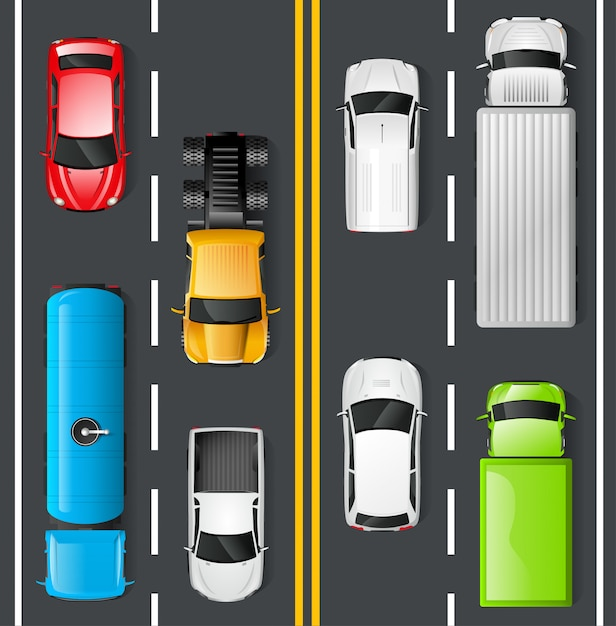 Traffic top view Free Vector