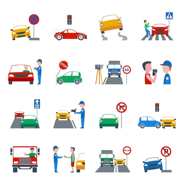 Traffic violation icons set Free Vector