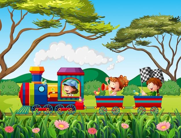 Train and children Premium Vector