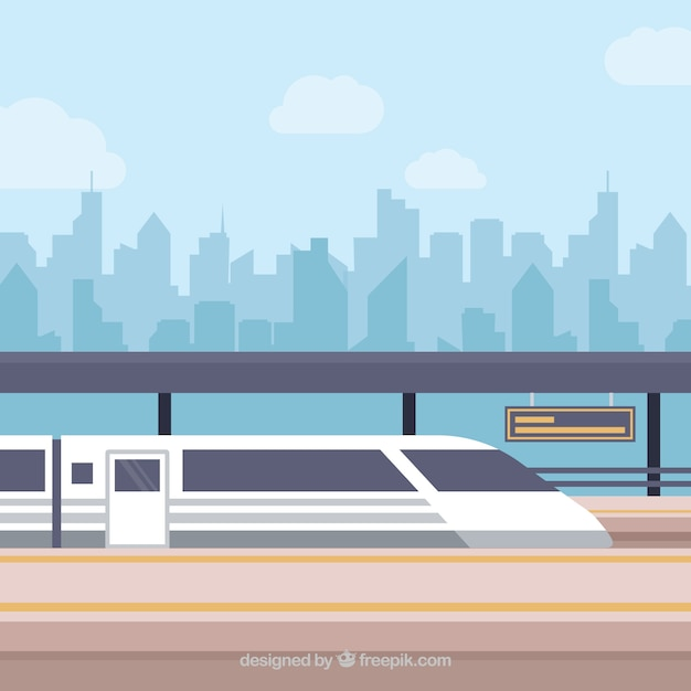 Train and city skyline background Free Vector