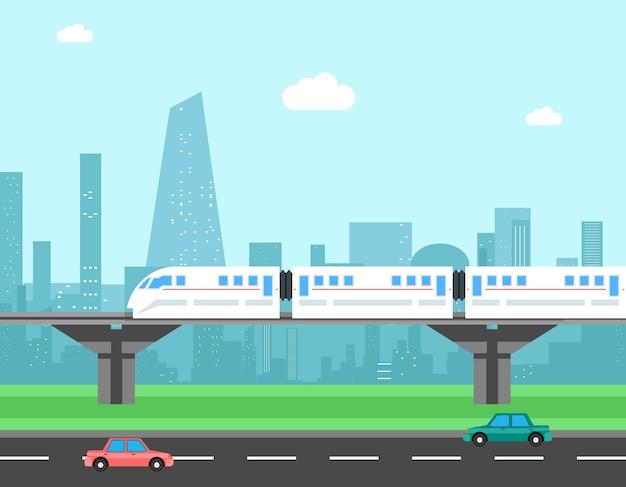 Treno e paesaggio urbano. concetto di vettore di trasporto. trasporti urbani, ferroviari e stradali Vettore gratuito