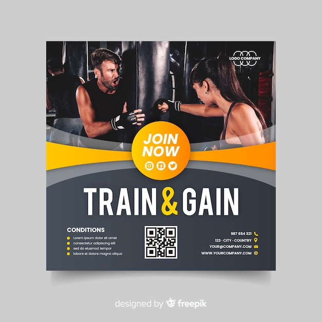 Train and gain sport flyer with image Free Vector