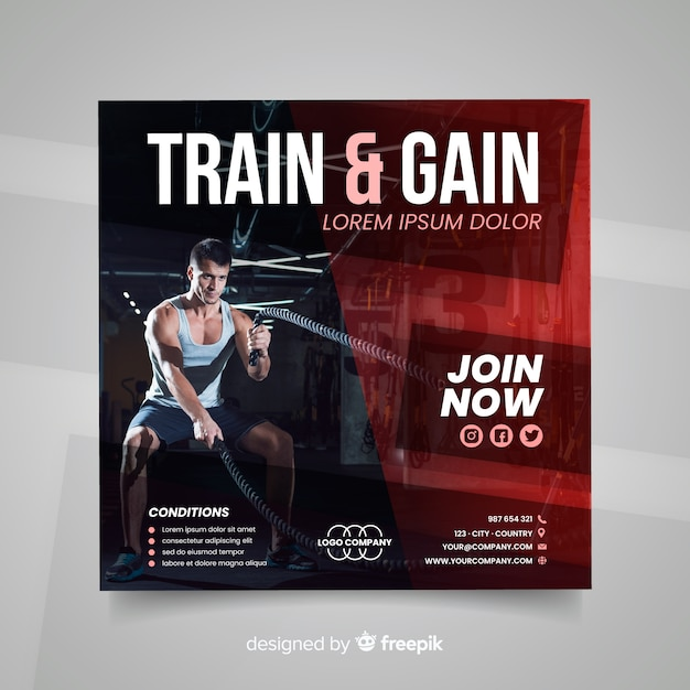 Train and gain sport flyer with photo Free Vector