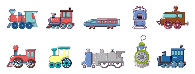 Train icon set. cartoon set of train vector icons set isolated Premium Vector