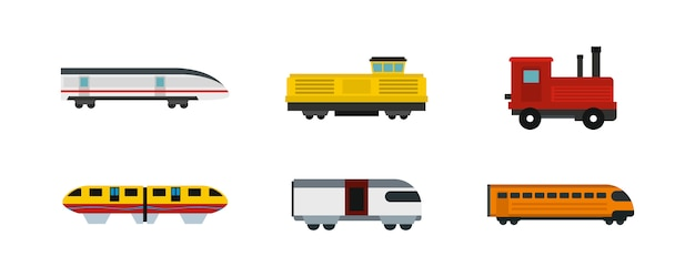 Train icon set. flat set of train vector icons collection isolated Premium Vector