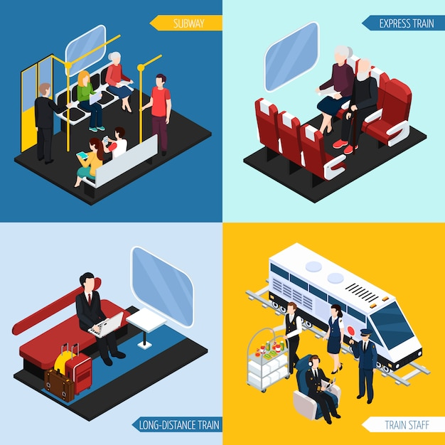 Train interior passengers isometric composition set Free Vector
