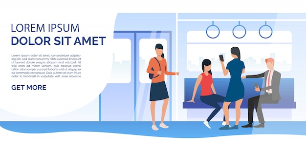 Train passengers using mobile phones in carriage Free Vector