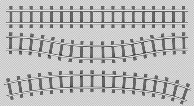 Железнодорожные рельсы, вид сверху, строительство железнодорожного пути Бесплатные векторы