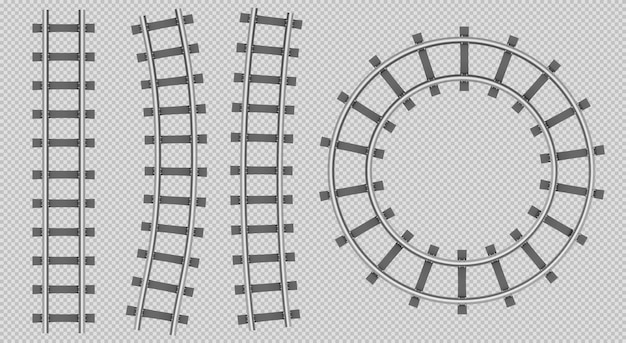 Train rails top view, straight, curve, round path Free Vector