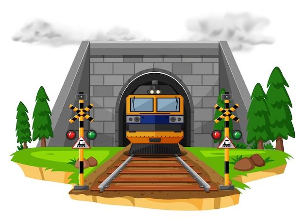 Train ride on the railroad Premium Vector