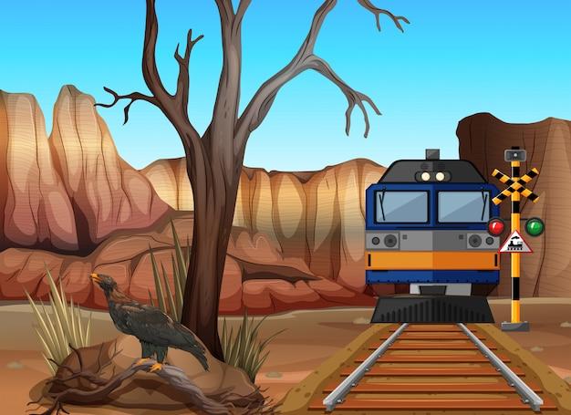 Train ride through canyons Premium Vector