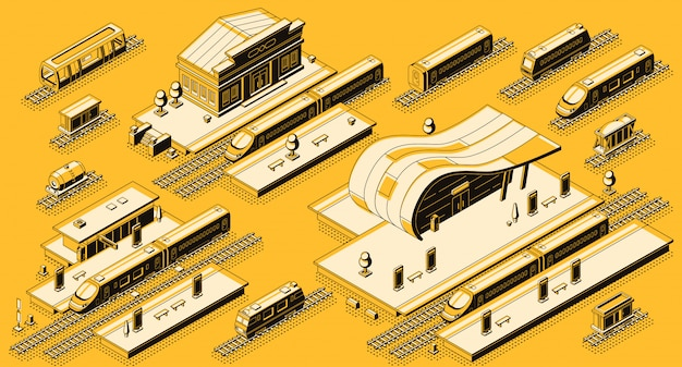 Train station buildings Free Vector