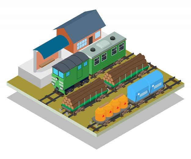 Train station concept scene Premium Vector
