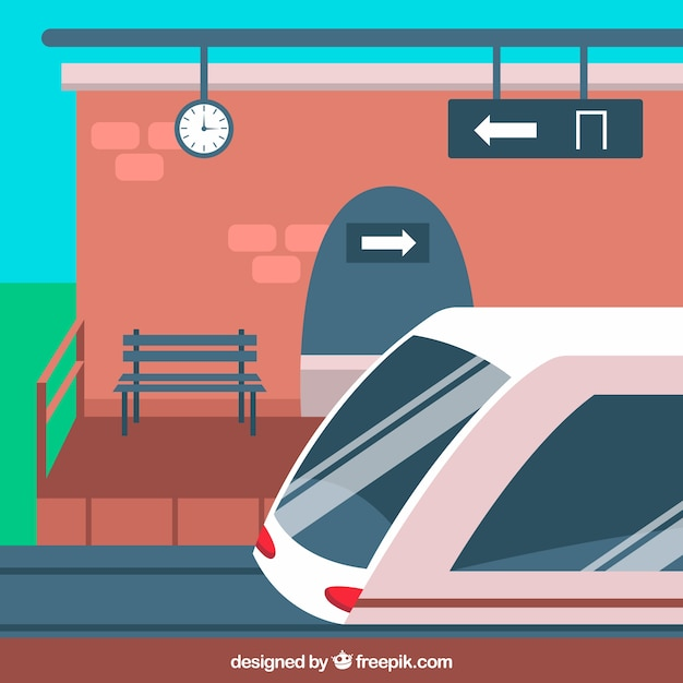 Train Station With Bench And Train Vector Free Download