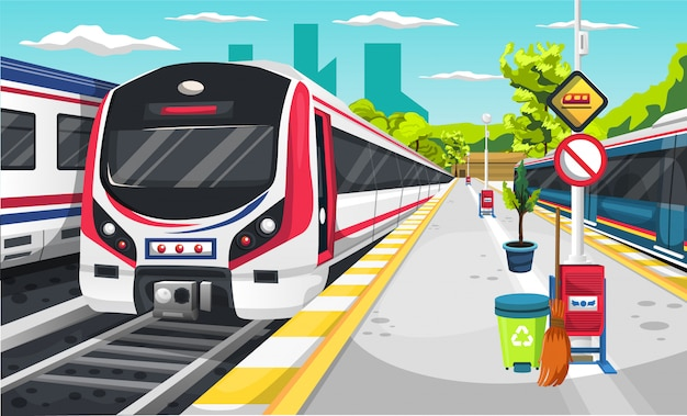 Premium Vector | Train station with electric train locomotive, recycle  trash, broom, traffic sign and green tree