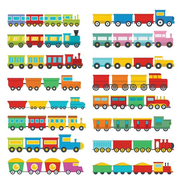 Train toy children icons set Premium Vector