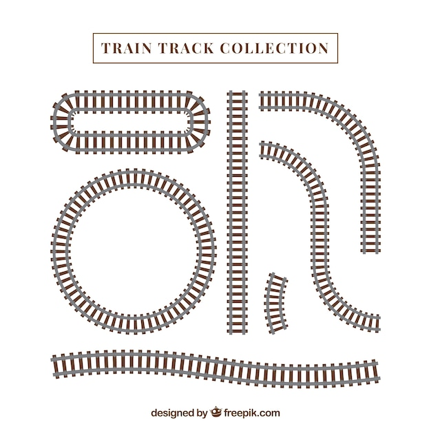 Train track collection Free Vector