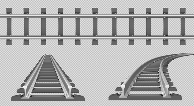 Train track, straight and turn railway in top and perspective view Free Vector