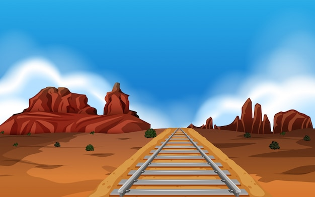 Train track in wild west background Free Vector
