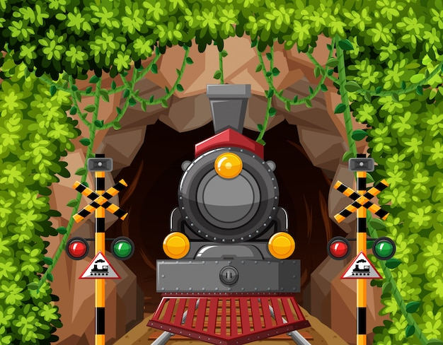 A train in tunnel scene Premium Vector