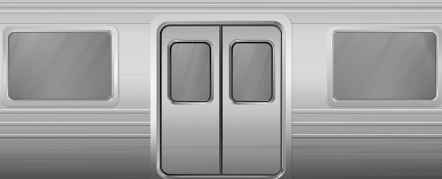 Train wagon with windows and closed doors Free Vector