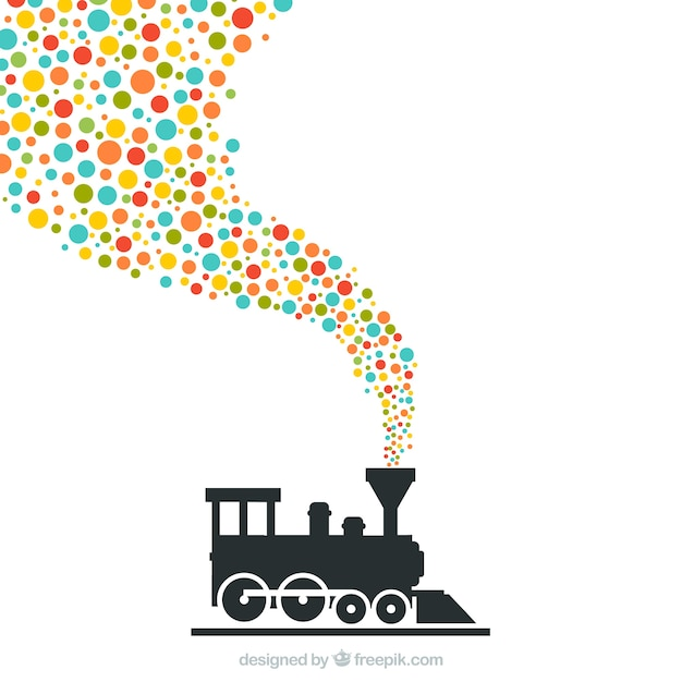 Train with colorful dots Free Vector