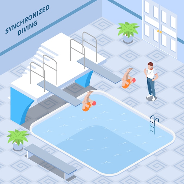 同期ダイビングトレーニング等尺性組成物の中に赤い水着のトレーナーと女の子の運動選手 無料ベクター