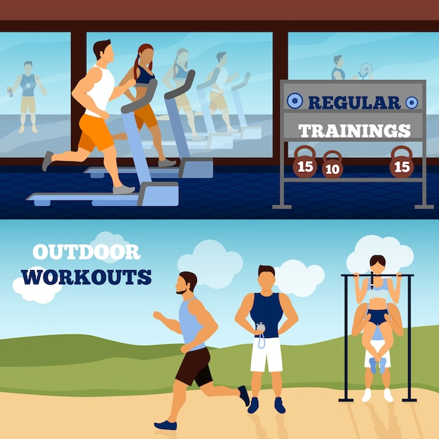Trainer banner set Free Vector