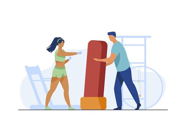 여자를위한 권투 가방을 들고 트레이너입니다. 킥복싱, 체육관, 선수 평면 벡터 일러스트 레이 션. 스포츠 및 훈련 무료 벡터