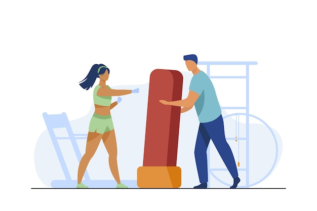 Trainer holding boxing bag for woman. kickboxing, gym, athlete flat vector illustration. sport and training Free Vector