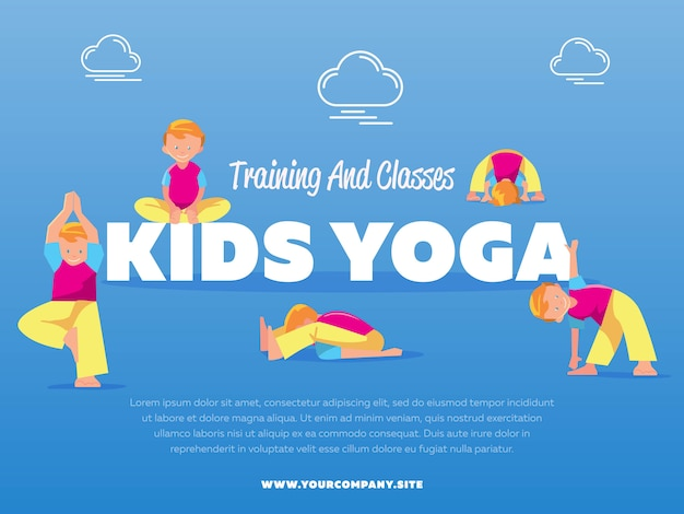 Training and classes kids yoga template Premium Vector