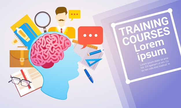 Training courses education online learning web banner Premium Vector