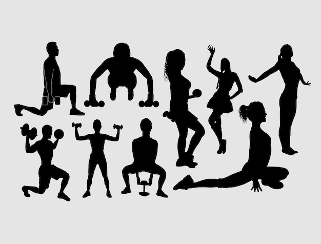Training and exercise sport male and female silhouette Premium Vector