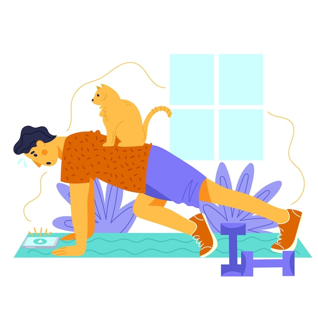 Training at home concept Free Vector