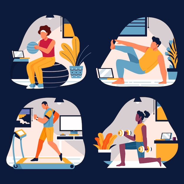 Training at home concept Premium Vector