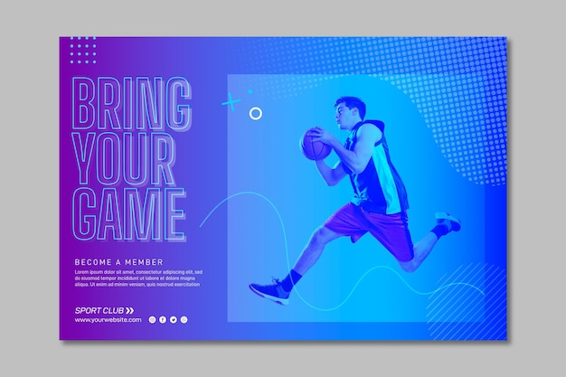 Training horizontal banner template with photo Free Vector