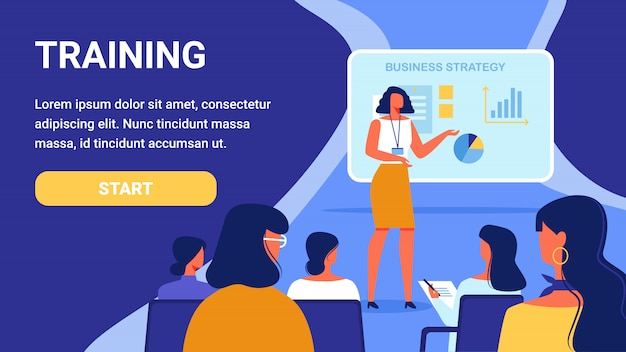 Training for woman. course business strategy. Premium Vector