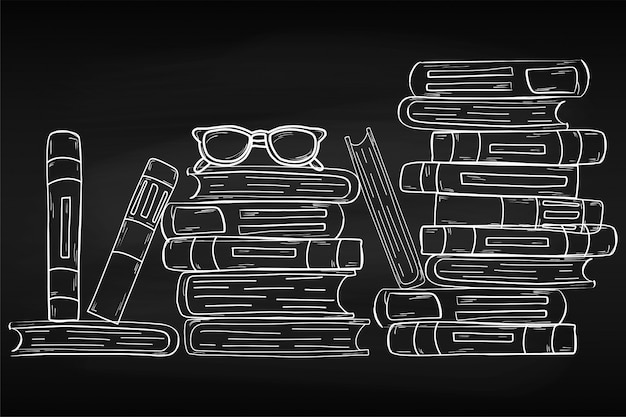 Training. world book day. april. knowledge. reading. world. for your design. sheet. chalk board. school. Premium Vector